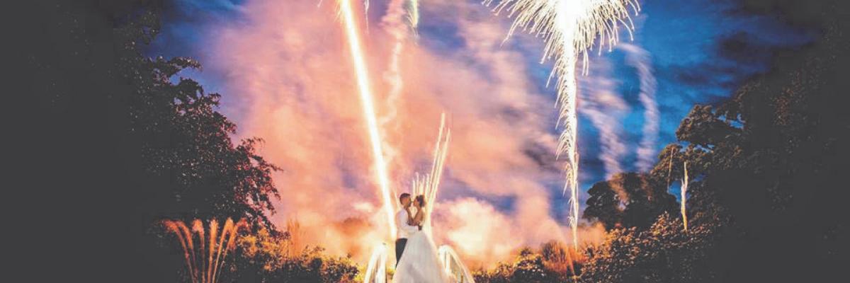 wedding fireworks banner